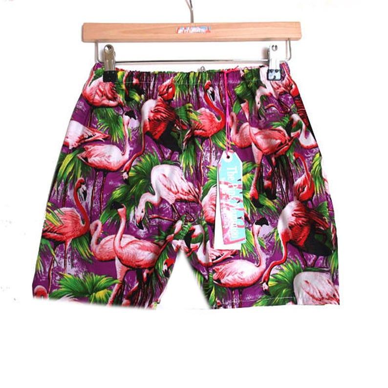 Men/'s Retro Purple Flamingo Print Board Shorts