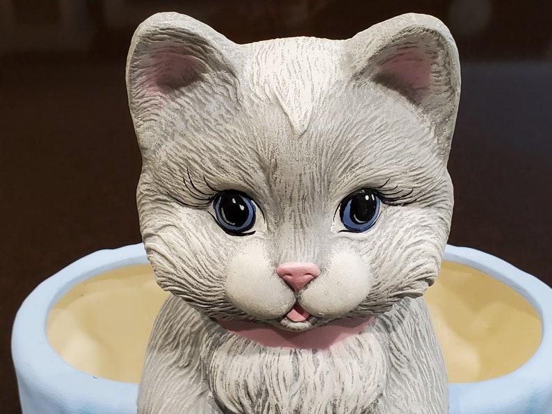 handpainted cat planter grey cat Adorable Kitten Container OOAK ceramic