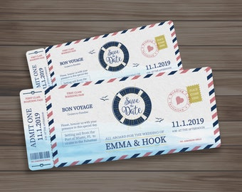 boarding pass cruise wedding ticket or birthday invitation digital download edit it yourself or we customize it for you save the date