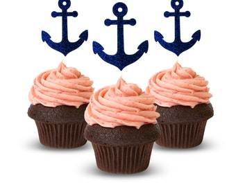 Cup Cake Topper Ancho Blue, Nautical Ideas, Glitter Card Stock Color Blue 12pc
