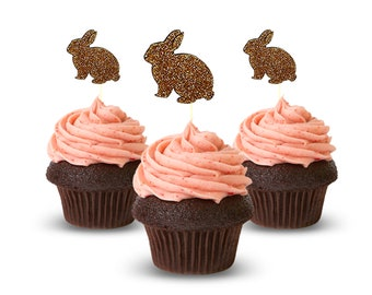 Adorable Cupcake Toppers Bunny , 12 pc Card Stock Glitter