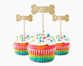 Adorable Cupcake Toppers Bones, 12 pc Card Stock Glitter