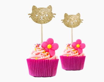Adorable Cupcake Toppers Kitty, 12 pc Card Stock Glitter