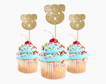 Adorable Cupcake Toppers Puppy, 12 pc Card Stock Glitter