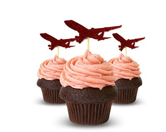 Airplane Cup Cake Toppers Red  glitter card stock airplane theme party
