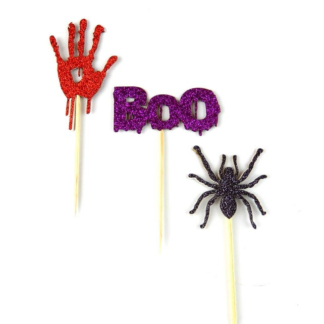 halloween scary spider, scary bloody hand and scary boo cupcake toppers and table decorations