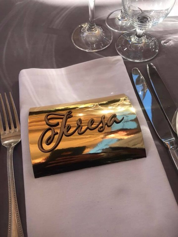 wedding name plate table setting seating chart laser cut names