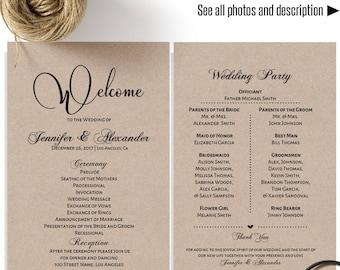 Wedding Program Printable Half Page Rustic Templates Instant Download Self Editable PDF A617