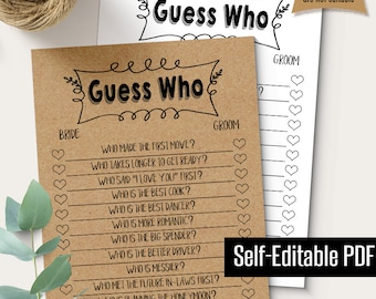 bridal shower game editable guess who game printable couples shower games instant download self editable pdf g106