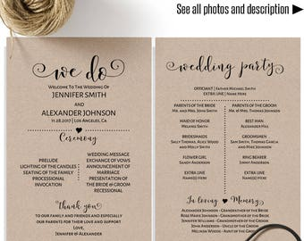 We Do Wedding Program Printable Half Page Programs Rustic Templates Instant Download Self Editable PDF A518