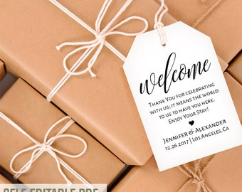 Printable Gift Tags, Welcome tags template, favor bag tags, wedding template, instant download editable PDF T119