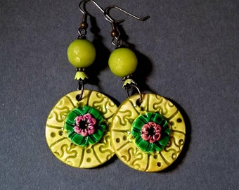 Boho Drops Earrings,Statement Earrings, Green Earrings, Polymer Clay Earrings, Lightweight Earrings