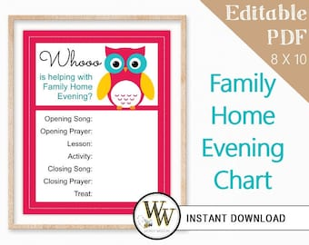 Family Home Evening Chart - LDS Editable PDF - FHE Assignments - 8x10 - Instant Download - Fushia & Blue Owl