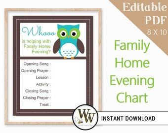 Family Home Evening Chart - LDS Editable PDF - FHE Assignments - 8x10 - Instant Download - Green & Blue Owl