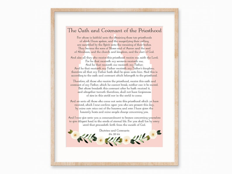 image relating to Oath and Covenant of the Priesthood Printable identified as Oath Covenant of the Priesthood Print - 8x10 inches - LDS Decor - Prompt Down load
