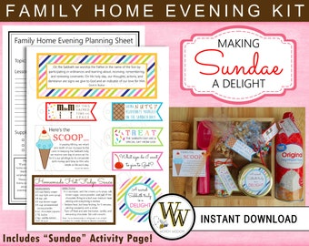 Printable Family Home Evening Kit - Sabbath is a Delight - LDS Sundae - INSTANT DOWNLOAD