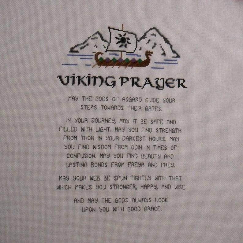 Viking Prayer Cross Stitch Pattern // Nordic Poem Digital image 0