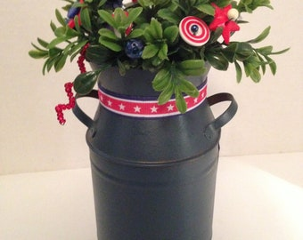 Vintage Button Bouquet/USA Milk Bucket-Farmhouse-Country July 4th-Patroitic Decor