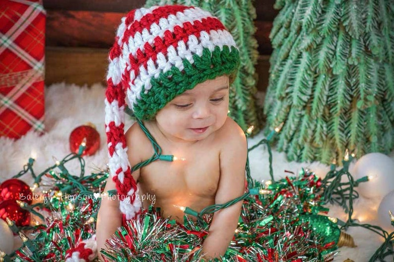 Christmas Elf Beanie Hat with Pom Poms  Santa Hat  Christmas image 0