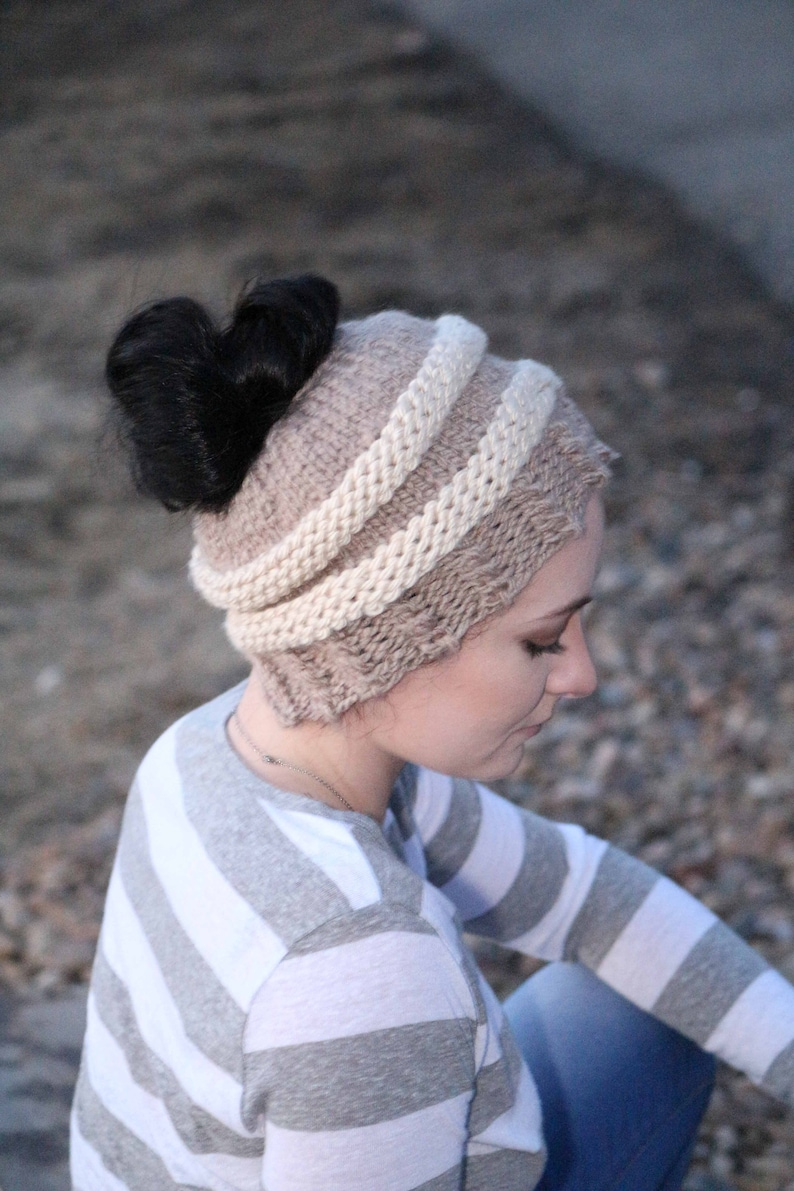 Messy Bun Hat for Women  Ponytail Beanie  Winter Hat  Messy image 0