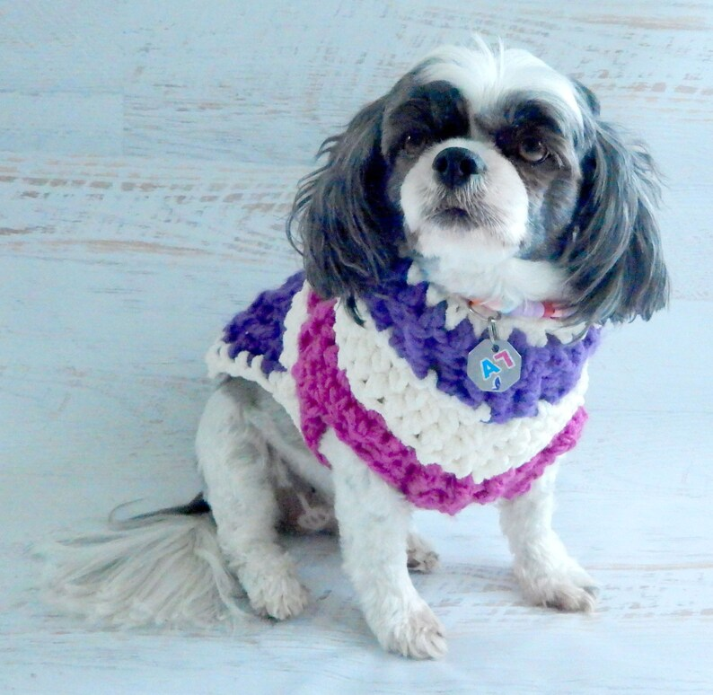 Dog Clothes  Purple Pink and Cream Dog Sweater Dog Sweater image 0