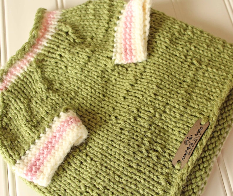 Olive Green Pink Cream Dog Clothes  Dog Sweater  Knit Pet image 0