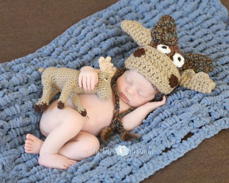 Newborn Baby Moose Photo Prop  Newborn Baby Moose Hat and Toy image 0