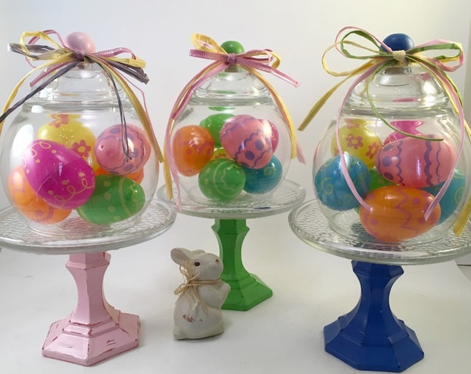 Featured listing image: Spring Easter decorated egg cloche choice handcrafted and assembled under glass on pedestal
