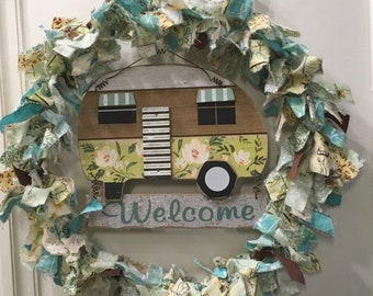 "rag wreath fabric and ribbon vintage outdoors camping dragonfly butterfly nature theme 14"" w/wood & tin 'welcome sign'"