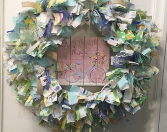 "Spring time seasonal rag wreath fabric and ribbon round 14"" metal frame with wood sign ""Enjoy the Little Things"""