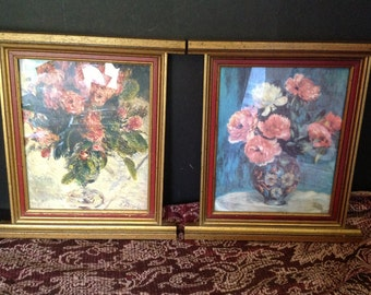 pair of vintage uniquely framed reproduction prints by Renoir