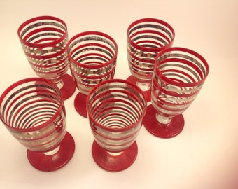 6 midcentury footed bar wine drink goblet glasses red and 22K gold stripes