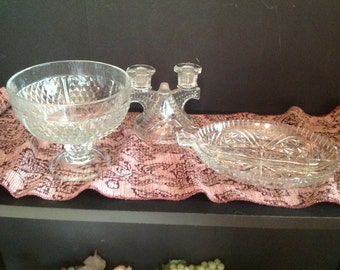set of three pieces of clear cut glass compote, cracker tray, tapered candle holder diamond and stars design