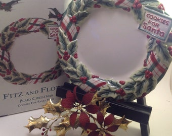 Fitz and Floyd Cookies for Santa Plate Plaid Christmas collection wreath and holly design original box