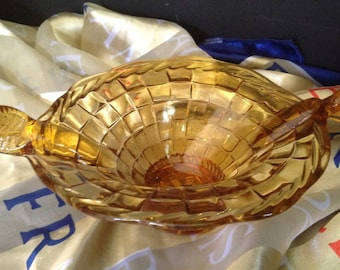 vintage gold cut glass bowl/dish in woven basket design