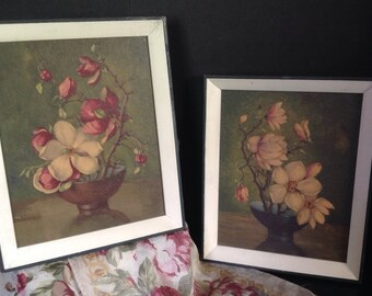 Pr. of vintage framed prints still life Oriental magnolia branches in bowl on hard board from Pogue's