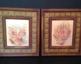 pair of vintage l978 basket & floral faux wood and jute framed prints by Robert Laessig in warm Autumn hues