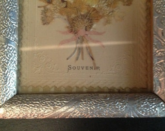 Vintage French framed pressed flowers