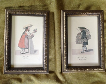 Pair of framed 18th century French market place figures flower girl and basket man