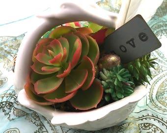 Faux succulent plant arrangement in vintage ceramic double swan dish w/ 6 plants, feathers, eggs & LOVE tag