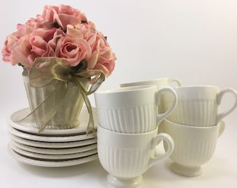 Wedgewood set of 6 white ribbed demitasse cups and saucers Ofetruria & Barlaston made in England