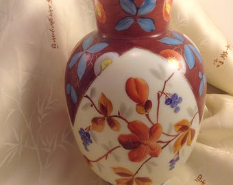 Vintage oriental Asian Japanese style milk glass urn shaped flower vase handpainted Fall colors