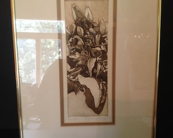 """Framed Pencil & ink print """"Tulips"""" by Brien 16/25"""