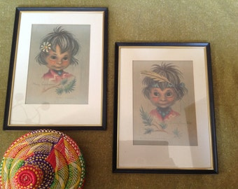 Pair of vintage Chromolithographs by Monteague of Native American children