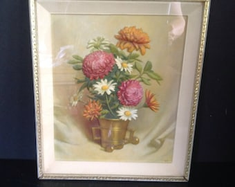 vintage mid-century 3D framed and matted wall art daisies mums brass handled planter