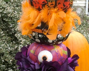 topiary of  3 stacked decorated halloween holiday pumpkins paper decoupage on tin cemetery planter urn with vintage tag topper and more!