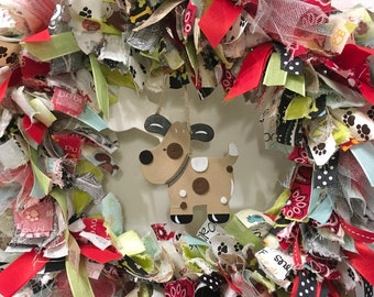 "rag wreath fabric and ribbon pet dog theme round 14"" metal frame wood bone and spotted dog hang in center"