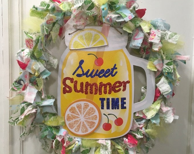 "Featured listing image: rag wreath fabric and ribbon 14"" sweet Summer time yellow lemonade tropical theme with MDF 11"" ball jar glass mug sign plaque"