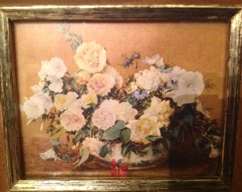 vintage print floral arrangement of white peonies roses and petunias under glass oak frame w/gold border