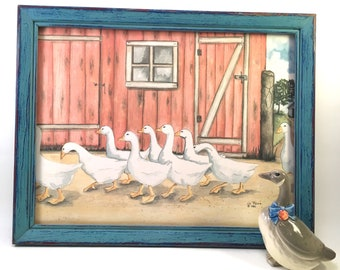 l986 Liz Rains ducks & ducklings on farm with red barn newly chalk painted blue distressed frame vintage country style